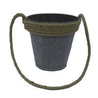Cheap price metal flower bucket garden pot with rope handle