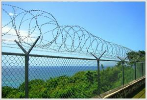 China Pvc Coated Airport Security Fence , Razor Barbed Wire Fence Easily Assembled on sale