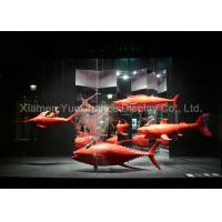 China Custom Red Color Fiberglass Fish Statues Normal Painting Surface Design on sale