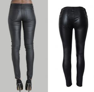 China fashion&casual  high waist pu leather long pencil pant trousers for women on sale