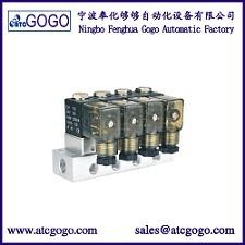 China 2 way direct acting liquid mini aluminum alloy solenoid valve manifold 4pcs for Medical 1/4 1/8 BSP plug on sale
