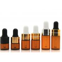 Round Dropper 1ml Cosmetic Glass Bottles With Glass Pipette For Essential Oil