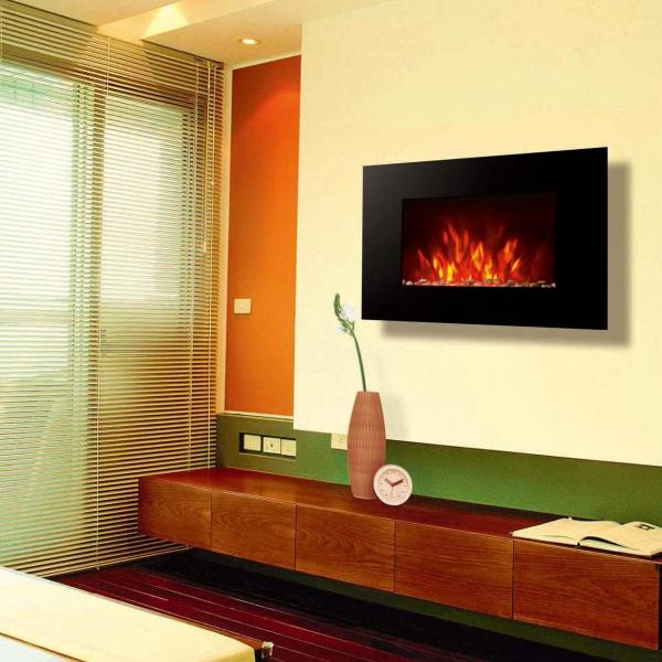 Fire flame Flat Tempered Glass Wall Mounted Electric Fireplace ...