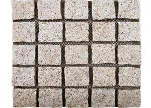 China Yellow Natural Paving Stones Cube Custom Surface Finishing 104hsd Hardness on sale
