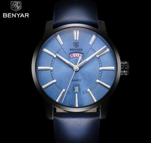 China BENYAR Men Genuine Leather Strap Simple Quartz Wrist Watches Casual 3 ATM Waterproof Men Watches BY-5101 on sale