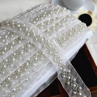 China Craft Braided Beaded Fake Pearls Rhinestones Trim Embroidered Lace Ribbon Trim Costume Applique Sewing on Trim 1cm on sale
