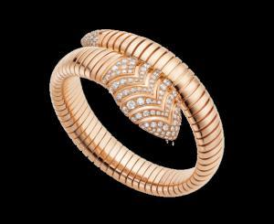 bulgari serpenti tubogas bracelet in 18 kt pink gold with pav diamonds ref br856845