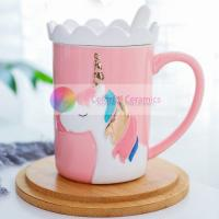 wholesale 370ml ceramic mug with lid dolomite household cute coffee mugs breakfast ware unicorn mug coffee cups milk mug