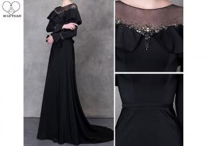 China Beautiful Black Long Sleeve A Line Dress Beading See Through Back Sweep Train on sale