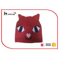 Kitty Shape Red Knit Hats With Two Little Ears And Rib Edge For Girls
