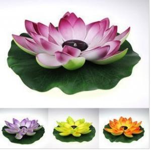 China Multi-Color RGB Garden Pool Floating Lotus Leaf Solar Powered LED lamp Flower Night Light Fountain Pond Solar Lighting on sale
