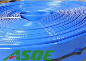 China BASF Polyurethane Blue Layflat Hose Water Pump Discharge Hose 60 Feet Lightweight on sale