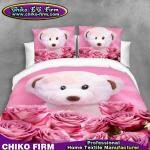 La literie pure du polyester 3D d'ours de jouet de conception de fleurs mignonnes de Rose place