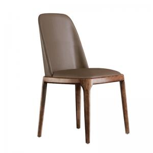China Solid wood base and PU leather cushion high quality arm / armless ash dining chair with micro fiber leather on sale