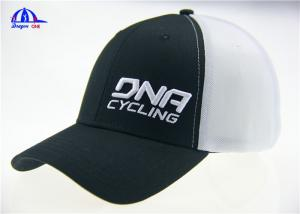 China Fashion Black and White Mesh Embroidery Custom Baseball Caps With DNA Cycling Logo supplier