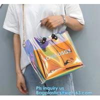 Promotional fashion soft pvc tote beach bag pvc handbag, handbag min min handbag for kids, Zipper Pocket Clear Beach Han