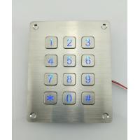IP65 waterproof 3X4 panel mounted illuminated keypad with flat key buttons