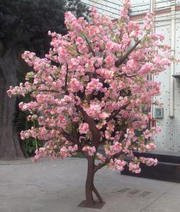 China high simulation large outdoor ornamental flowering plants artificial pink blossom tree on sale