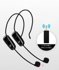 China Dual Channel Wireless Microphone System Unidirectional Removable Headset Ear Hook 6.35mm Transmitter on sale