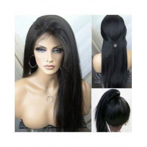 China Straight Natural Black 100% Premium Virgin Human Hair Lace Front Wig 180%  Density With Bundles on sale