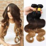 3 bundles Peruvian Remy Human Hair Ombre Hair 1B/4/27 Body Wave 10~30inch