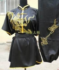 China golden wushu uniform with embroideried dragon on sale