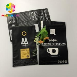 China Matt Black 200g Aluminum Foil Stand Up Pouch Zip Lock Coffee Bag Gravure Printing on sale