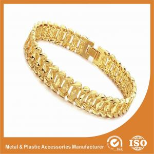 China Fashion Jewelry OEM Men Wide Metal Chain Bracelet 18k Gold Chain Radiation Protection on sale