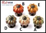 Color Pumpken Shape Ceramic Cupboard Door Knobs Porcelain Antique Bronze Crack Marble Pattern Knobs