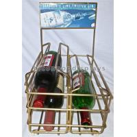 China Liquor Shop Gin Commercial Countertop Wire Wine Rack Display Finished Golden Color on sale