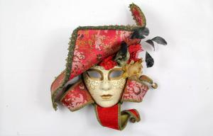 China Unique Masquerade Jester Venetian Mask With Feather For Girl , Black on sale