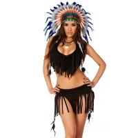 Balck Spandex Rain Dance Sexy Native American Costume with Size S to XXL Available