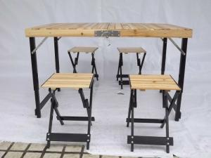 Quality Wood Folding Camping Table And Chairs Easy Set Up With Aluminium Alloy Frame For