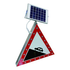China Triangle Solar Traffic Signal Sign Waterproof Aluminum Roadway Safety Application on sale