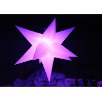Different Size Hanging Inflatable Led Star 190 T Polyester Material For Party