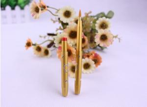 China Yellow Hair Color Ultra Fine Eyeliner Brush / Lip Liner Brush Retractable Metal Handle on sale