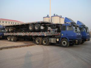 China Green 12m Steel Flat Bed Semi Trailer With Lock For Cargo Transportation on sale