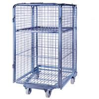 Folding Supermarket Metal Wire Mesh Warehouse Storage Roll Cage