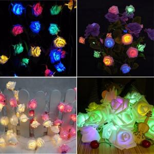 China 2m 20 Led Rose Flower Fairy Lights Festival Battery Operated Flower Lights on sale