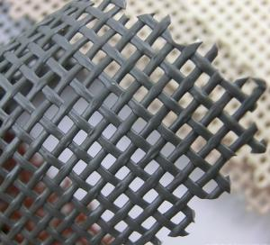 China Black color Environment Friendly PVC polyester textilens fabric Pool Safety Net 1 X1 woven mesh fabrics supplier