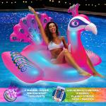 Peacock LED Light up Pool Float Giant,Remote Control,Ages 15+ Inflatable Ride on