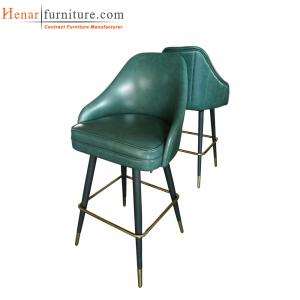 China Indoor Green Microfiber Leather Upholstery Swivel Bar Stool Restaurant Furniture on sale