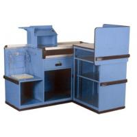 Custom Build Retail Store Metal Cashier Supermarket Checkout Counter Furniture With Dam Board