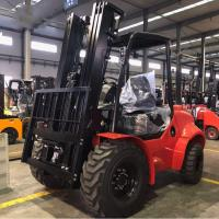 China Customised All / Rough Terrain Forklift , 3.5 Ton Red Steel Atv Forklift on sale