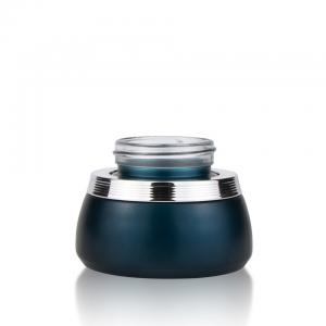 China Custom UV Gel Frosted Glass Cosmetic Jars 30ml 50ml Blue Dark For Skin Care Packaging on sale