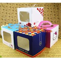 China decorative personalized paper cake boxes, Custom artpaper handle cake box with PVC window, wedding cake boxes with handl on sale