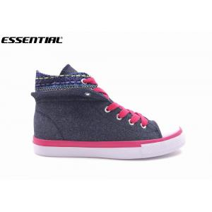 Shiny Canvas Trainers Womens High Top Boots Lace Up Navy Fuxia Size 36 - 41
