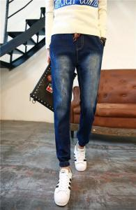 China European Style Distressed Mens Slim Straight Jeans 100% Cotton Denim Rib Paneling on sale