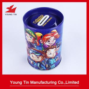 China Cylinder Round Piggy Bank Coin Bank Tin Full Color Printed Outside Glossy Finish on sale
