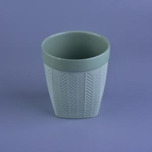 China Green color ceramic material candle holder with pattern on sale